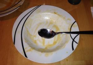 Aufgegessen: leerer Teller